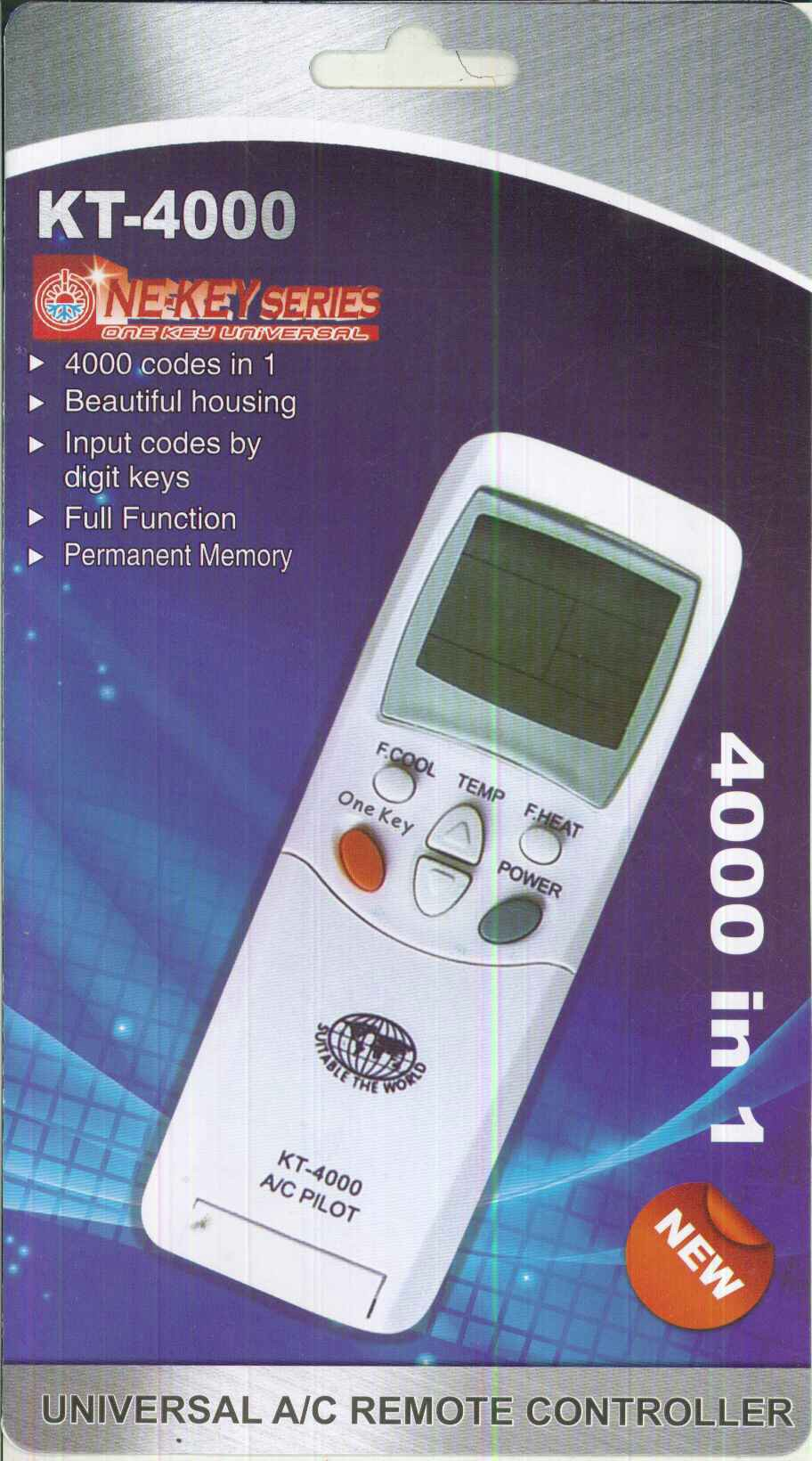 KT-4000 ( 4000 Code) Universal Air Conditioner Remote - 10 Pack